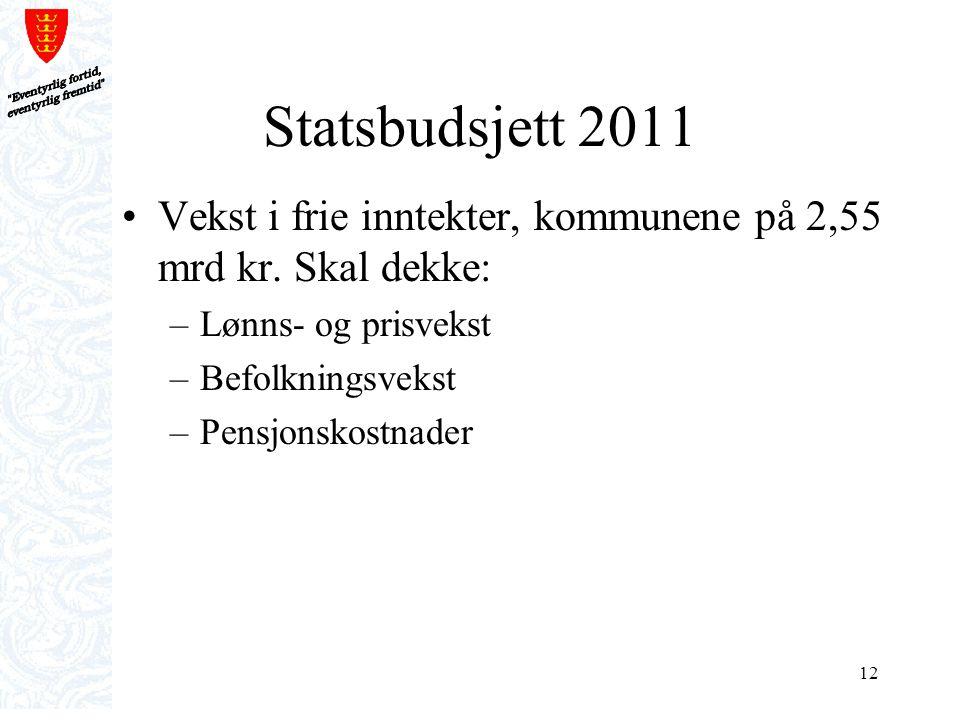 12 Statsbudsjett 2011 Vekst i frie inntekter, kommunene på 2,55 mrd kr. Skal dekke: –Lønns- og prisvekst –Befolkningsvekst –Pensjonskostnader