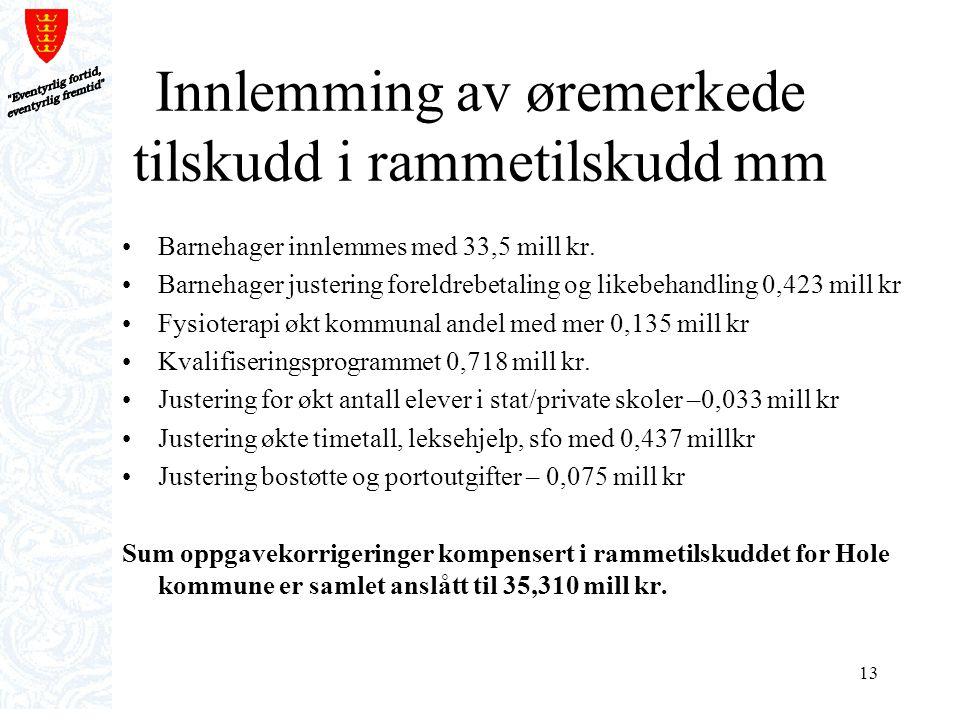 13 Innlemming av øremerkede tilskudd i rammetilskudd mm Barnehager innlemmes med 33,5 mill kr. Barnehager justering foreldrebetaling og likebehandling
