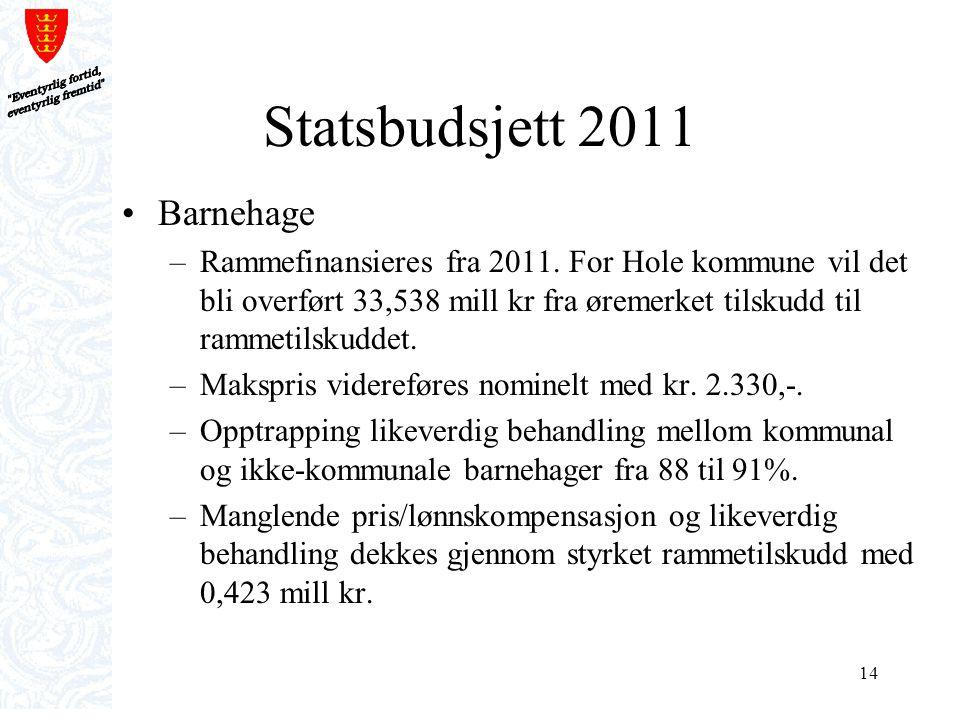 14 Statsbudsjett 2011 Barnehage –Rammefinansieres fra 2011. For Hole kommune vil det bli overført 33,538 mill kr fra øremerket tilskudd til rammetilsk