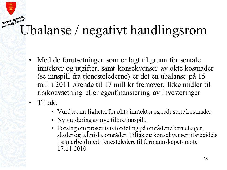 26 Ubalanse / negativt handlingsrom Med de forutsetninger som er lagt til grunn for sentale inntekter og utgifter, samt konsekvenser av økte kostnader
