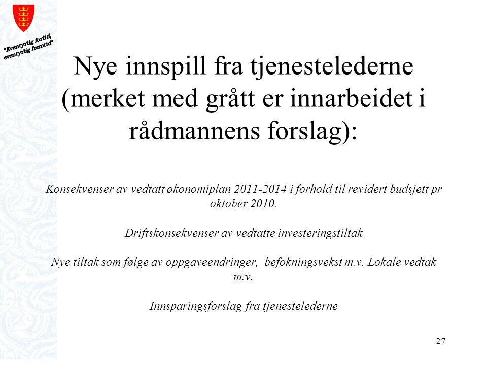 27 Nye innspill fra tjenestelederne (merket med grått er innarbeidet i rådmannens forslag): Konsekvenser av vedtatt økonomiplan 2011-2014 i forhold ti