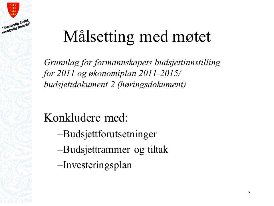 3 Målsetting med møtet Grunnlag for formannskapets budsjettinnstilling for 2011 og økonomiplan 2011-2015/ budsjettdokument 2 (høringsdokument) Konklud
