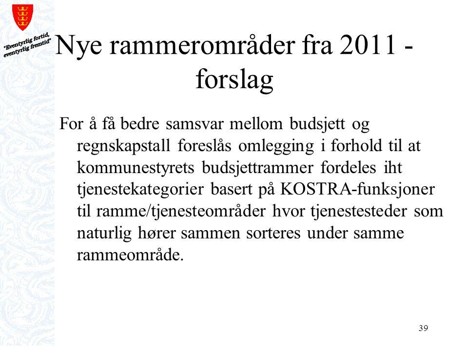 39 Nye rammerområder fra 2011 - forslag For å få bedre samsvar mellom budsjett og regnskapstall foreslås omlegging i forhold til at kommunestyrets bud