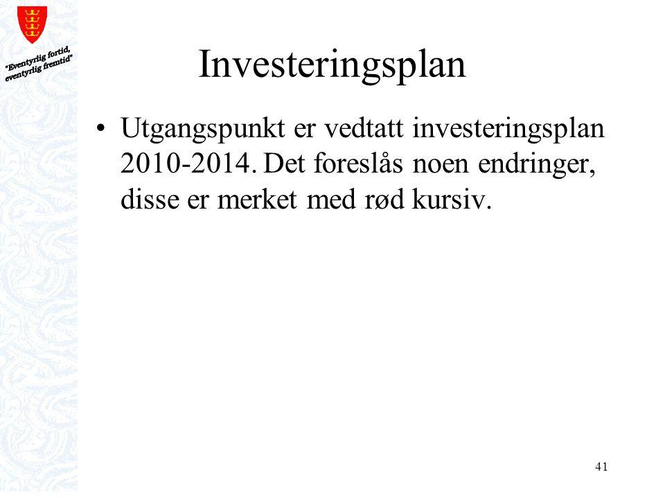 41 Investeringsplan Utgangspunkt er vedtatt investeringsplan 2010-2014. Det foreslås noen endringer, disse er merket med rød kursiv.