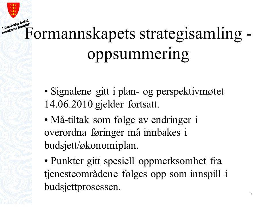 7 Formannskapets strategisamling - oppsummering Signalene gitt i plan- og perspektivmøtet 14.06.2010 gjelder fortsatt. Må-tiltak som følge av endringe