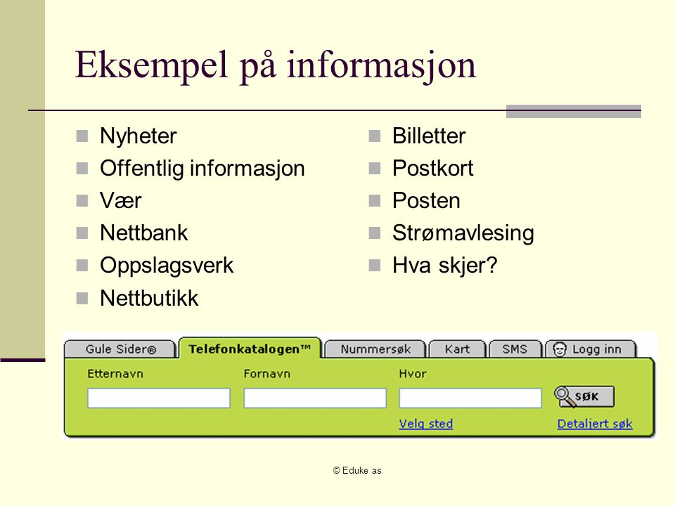 © Eduke as Eksempel på informasjon Nyheter Offentlig informasjon Vær Nettbank Oppslagsverk Nettbutikk Billetter Postkort Posten Strømavlesing Hva skjer