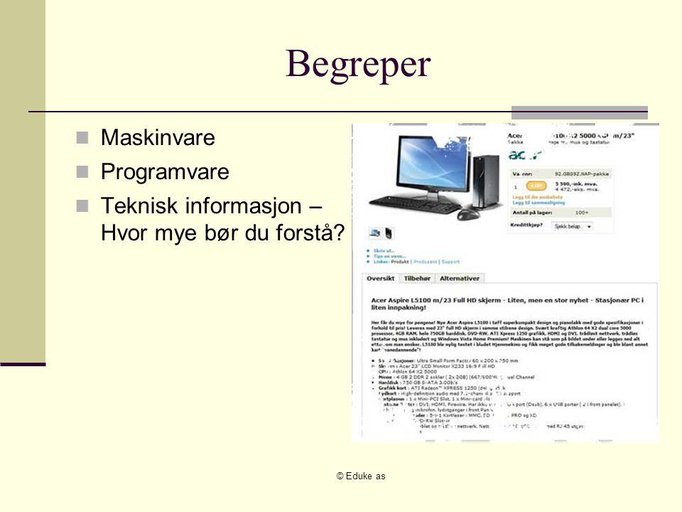 © Eduke as Begreper Maskinvare Programvare Teknisk informasjon – Hvor mye bør du forstå