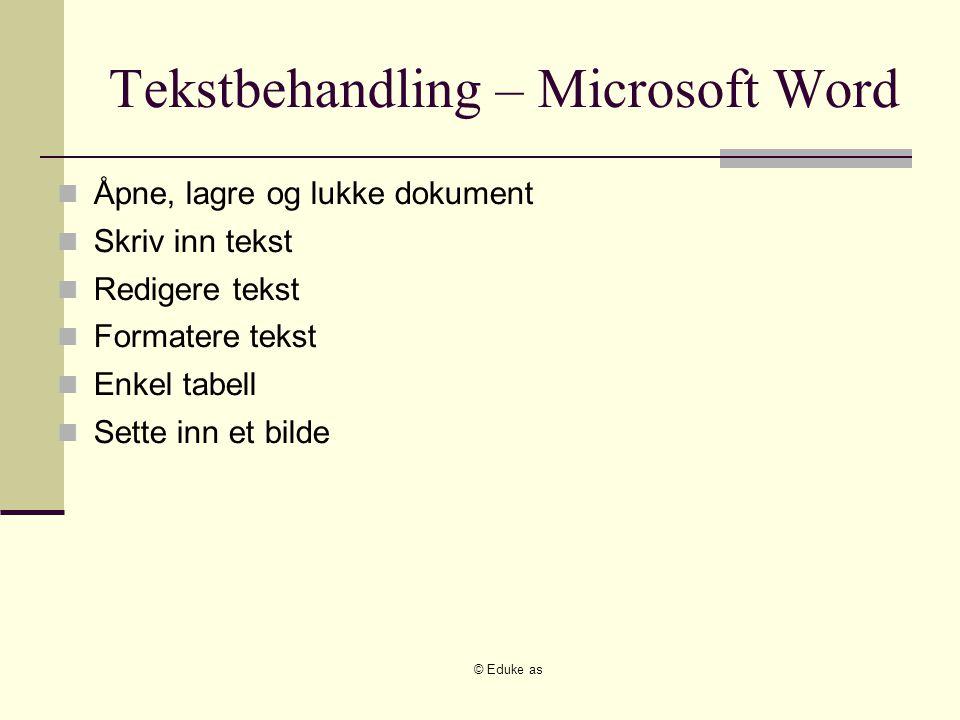 © Eduke as Tekstbehandling – Microsoft Word Åpne, lagre og lukke dokument Skriv inn tekst Redigere tekst Formatere tekst Enkel tabell Sette inn et bil