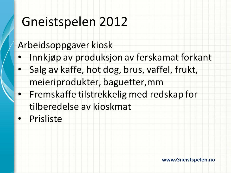 Arbeidsoppgaver premieutdeling Ansvarlig for utdeling av premier Notere deltakere som ikke er til stede på premieutdelingen www.Gneistspelen.no Gneistspelen 2012