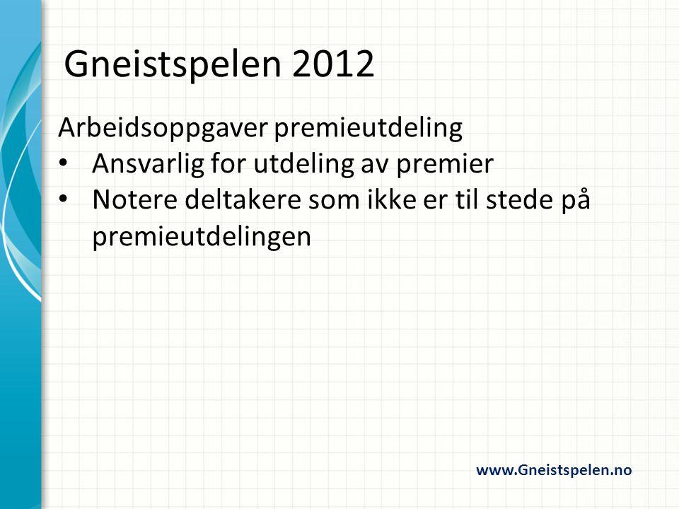 Arbeidsoppgaver Startordner Informere om baneplassering Rettlede og kontrollere startelinje mm www.Gneistspelen.no Gneistspelen 2012