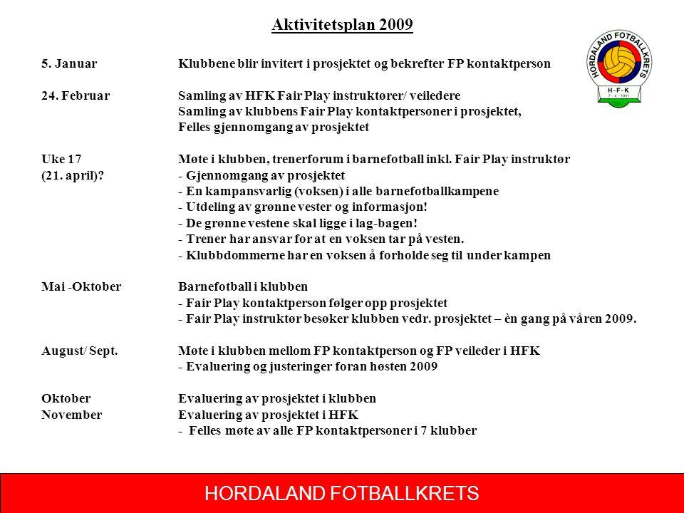 HORDALAND FOTBALLKRETS Aktivitetsplan 2009 5. Januar Klubbene blir invitert i prosjektet og bekrefter FP kontaktperson 24. FebruarSamling av HFK Fair