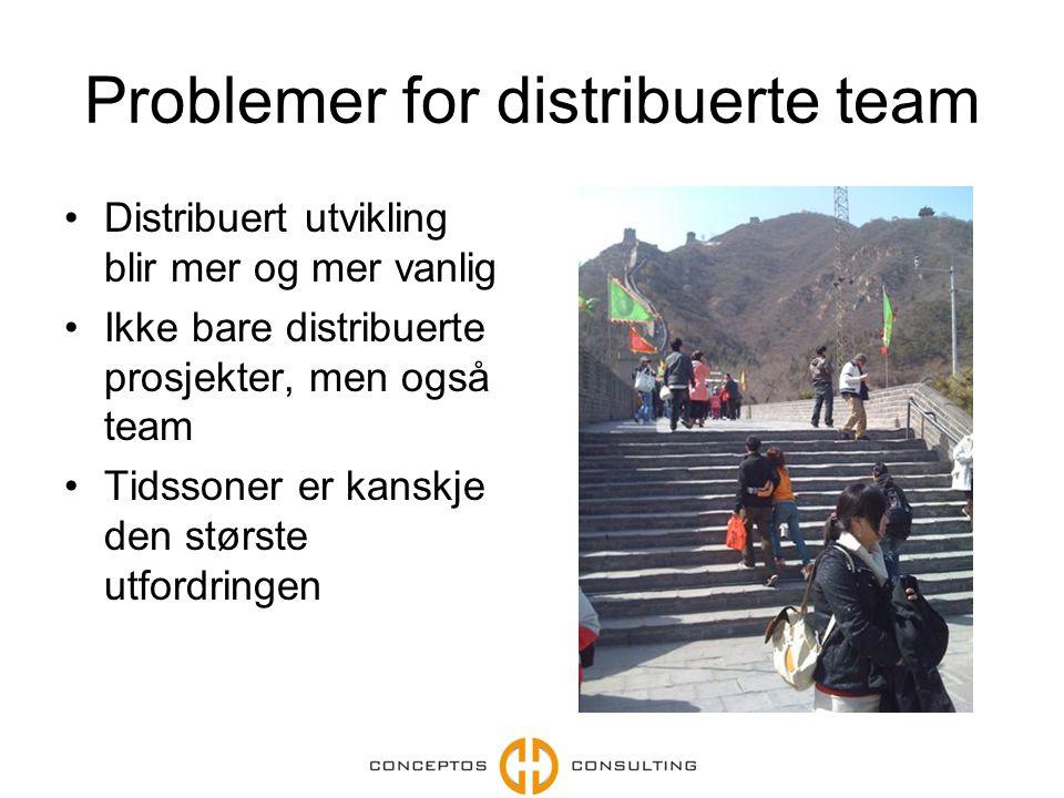 Problemer for distribuerte team Distribuert utvikling blir mer og mer vanlig Ikke bare distribuerte prosjekter, men også team Tidssoner er kanskje den største utfordringen