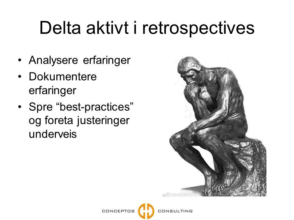 """Delta aktivt i retrospectives Analysere erfaringer Dokumentere erfaringer Spre """"best-practices"""" og foreta justeringer underveis"""