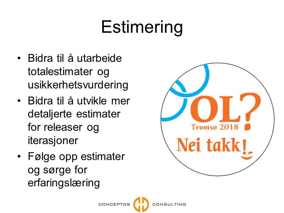 Estimering Bidra til å utarbeide totalestimater og usikkerhetsvurdering Bidra til å utvikle mer detaljerte estimater for releaser og iterasjoner Følge opp estimater og sørge for erfaringslæring