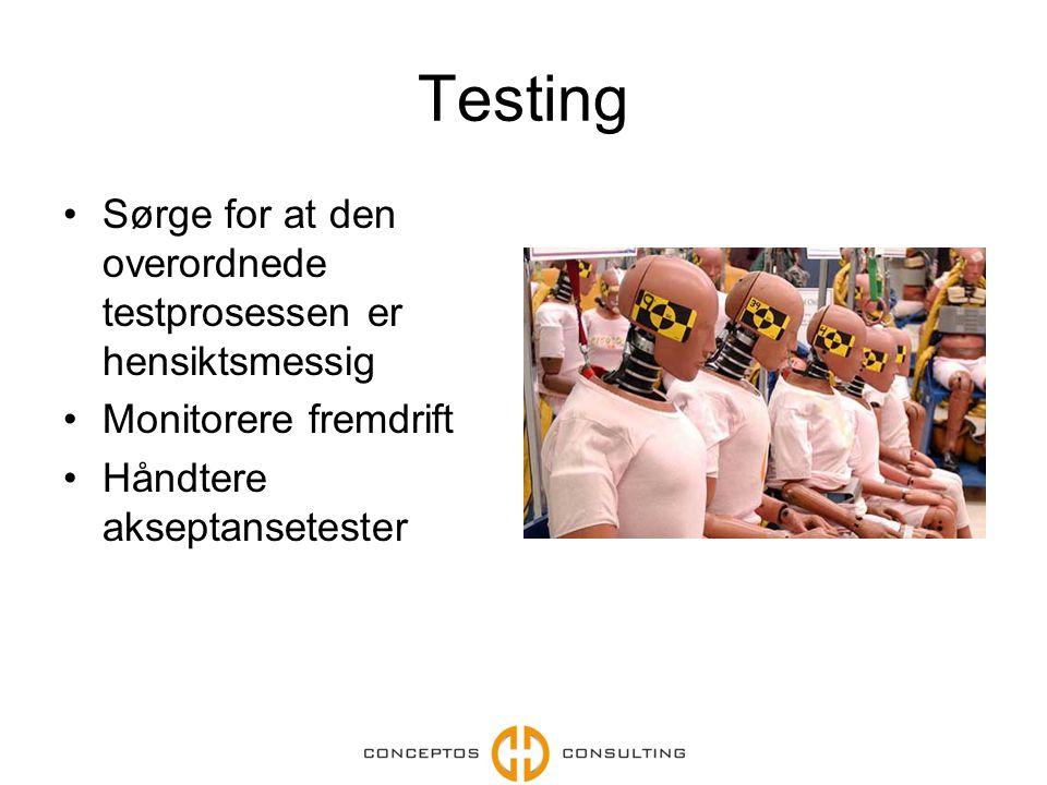 Testing Sørge for at den overordnede testprosessen er hensiktsmessig Monitorere fremdrift Håndtere akseptansetester