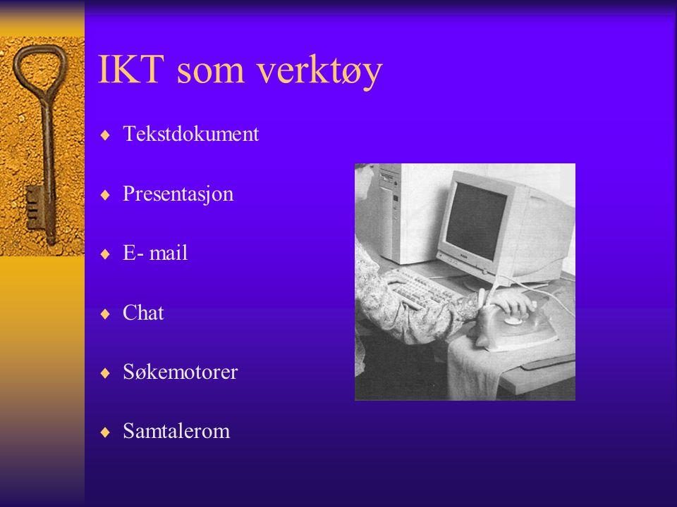 IKT som verktøy  Tekstdokument  Presentasjon  E- mail  Chat  Søkemotorer  Samtalerom