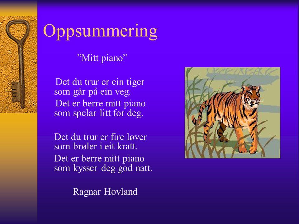 Oppsummering Mitt piano Det du trur er ein tiger som går på ein veg.