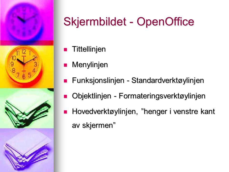 Skjermbildet - OpenOffice Tittellinjen Tittellinjen Menylinjen Menylinjen Funksjonslinjen - Standardverktøylinjen Funksjonslinjen - Standardverktøylin