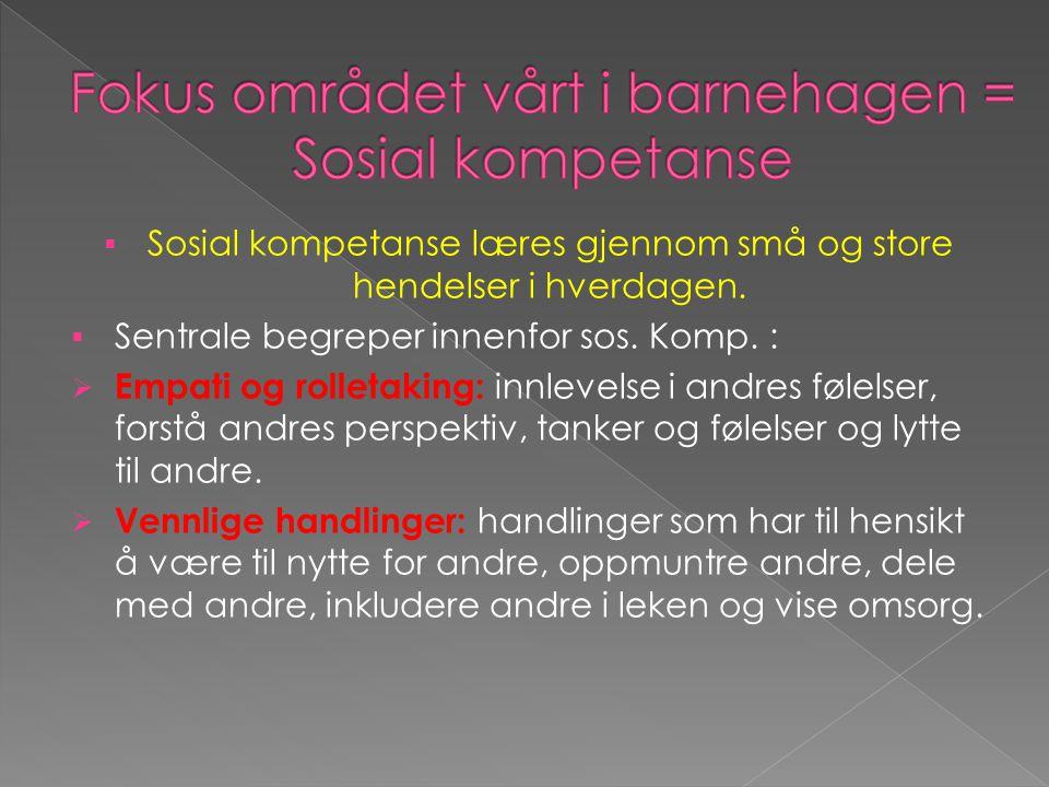  Sosial kompetanse læres gjennom små og store hendelser i hverdagen.