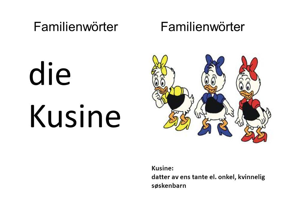 die Kusine Kusine: datter av ens tante el. onkel, kvinnelig søskenbarn Familienwörter