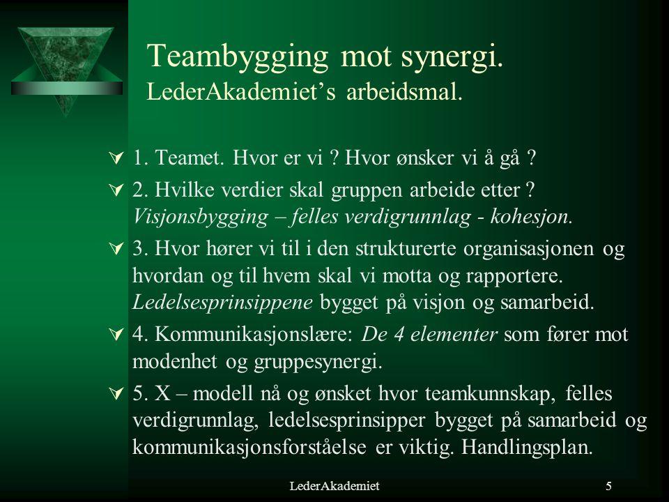 LederAkademiet5 Teambygging mot synergi. LederAkademiet's arbeidsmal.  1. Teamet. Hvor er vi ? Hvor ønsker vi å gå ?  2. Hvilke verdier skal gruppen