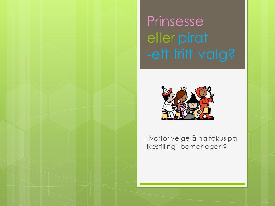 Prinsesse eller pirat -ett fritt valg? Hvorfor velge å ha fokus på likestilling i barnehagen?