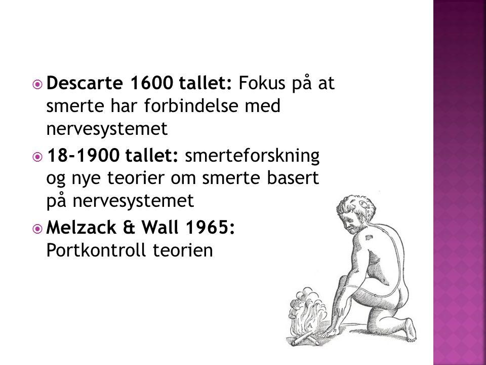  Descarte 1600 tallet: Fokus på at smerte har forbindelse med nervesystemet  18-1900 tallet: smerteforskning og nye teorier om smerte basert på nervesystemet  Melzack & Wall 1965: Portkontroll teorien