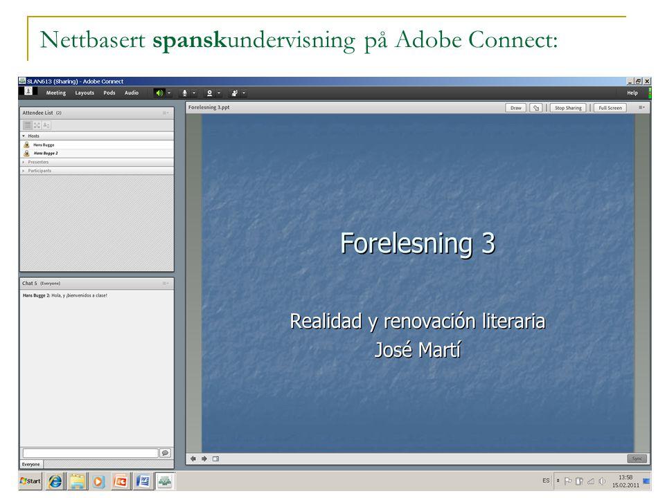Nettbasert spanskundervisning på Adobe Connect: