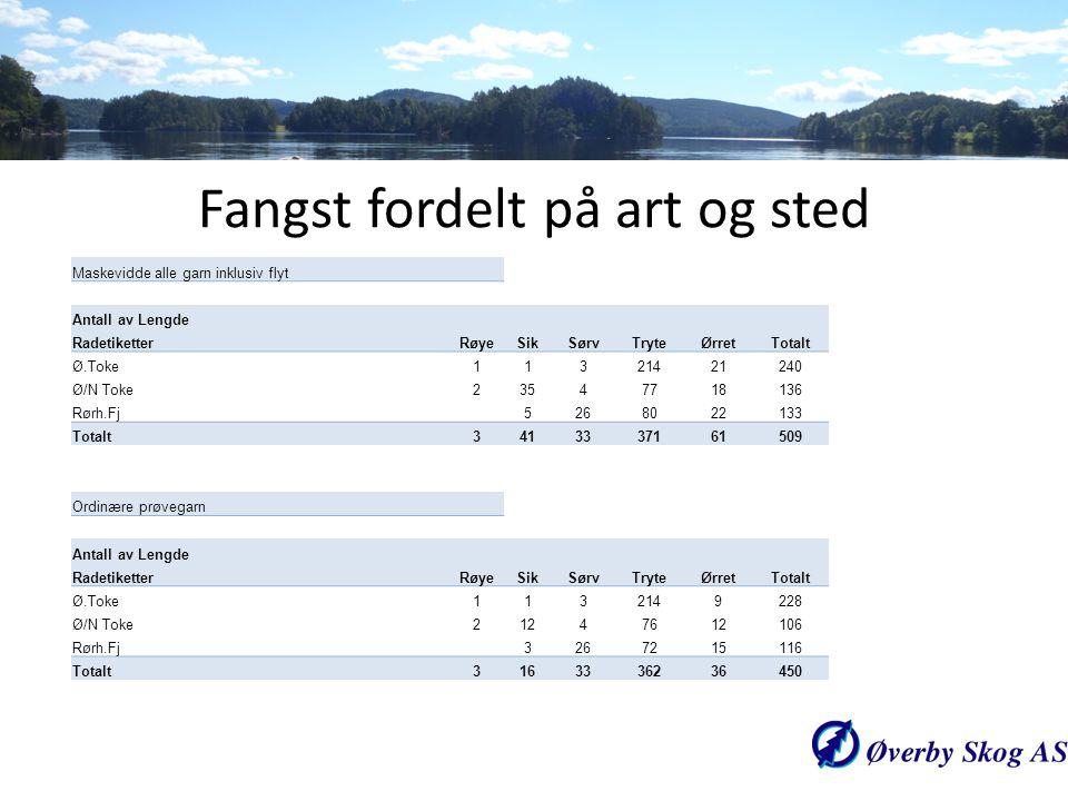 Maskevidde alle garn inklusiv flyt Antall av Lengde RadetiketterRøyeSikSørvTryteØrretTotalt Ø.Toke11321421240 Ø/N Toke23547718136 Rørh.Fj5268022133 To