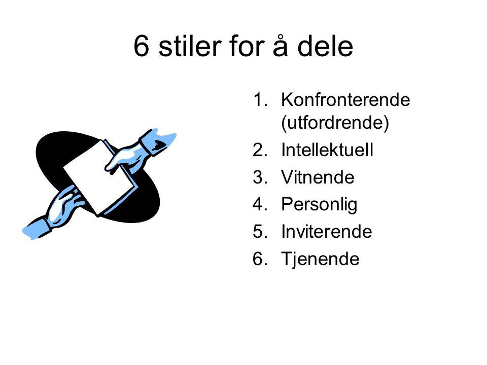 6 stiler for å dele 1.Konfronterende (utfordrende) 2.Intellektuell 3.Vitnende 4.Personlig 5.Inviterende 6.Tjenende