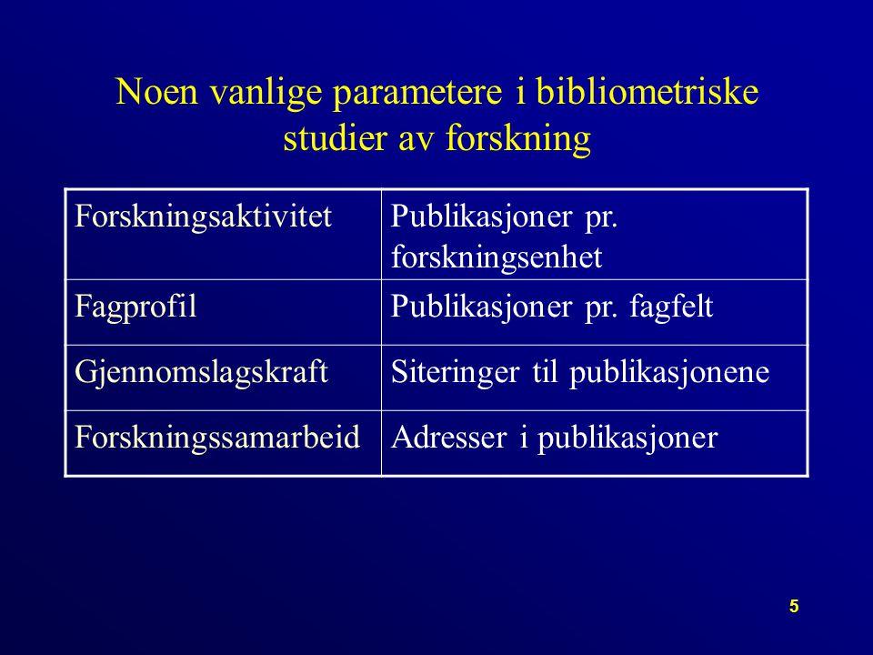 5 Noen vanlige parametere i bibliometriske studier av forskning ForskningsaktivitetPublikasjoner pr.