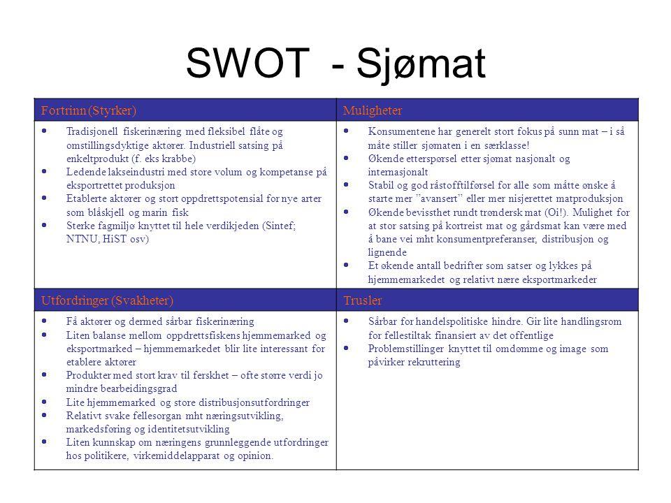 SWOT - Sjømat Fortrinn (Styrker)Muligheter  Tradisjonell fiskerinæring med fleksibel flåte og omstillingsdyktige aktører. Industriell satsing på enke