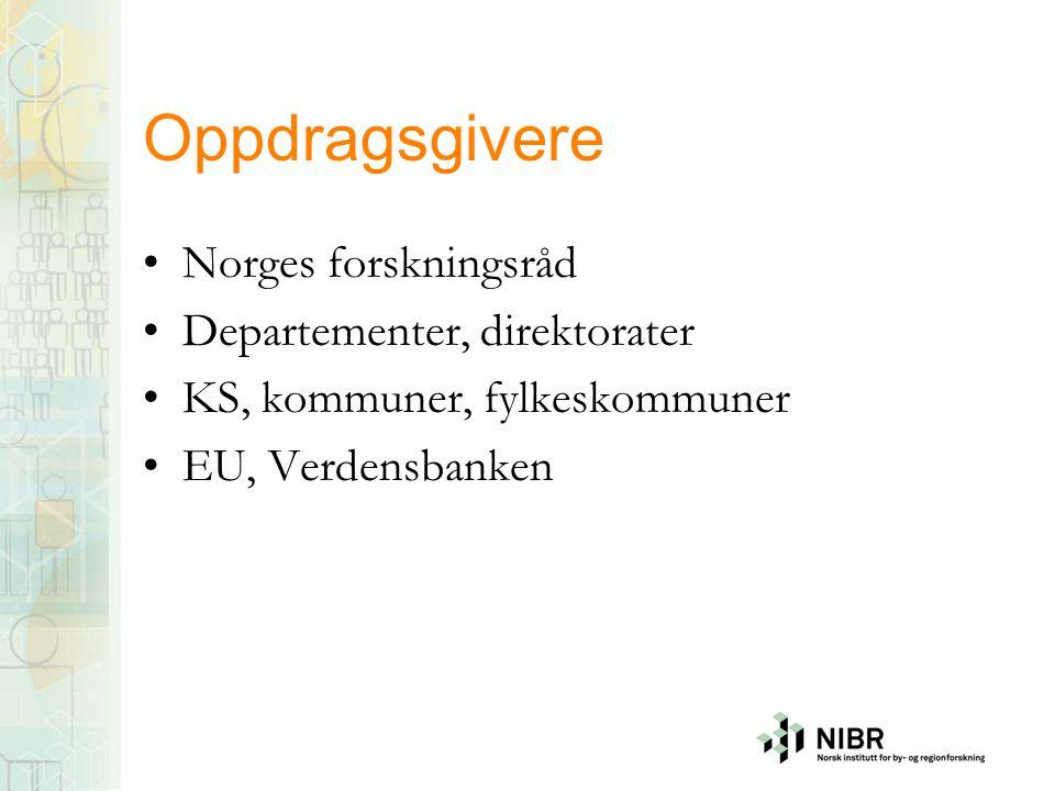 Oppdragsgivere Norges forskningsråd Departementer, direktorater KS, kommuner, fylkeskommuner EU, Verdensbanken
