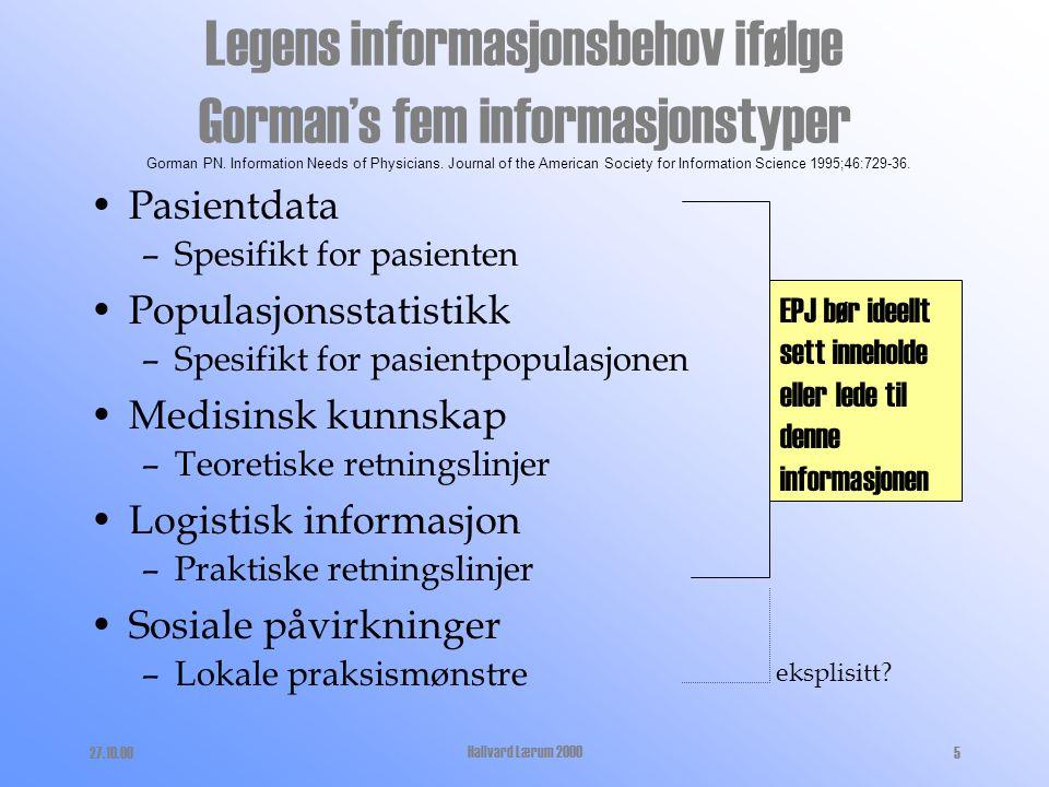27.10.00Hallvard Lærum 200025 Konklusjon EPJ håndterer store deler av informasjonen vi baserer våre kliniske avgjørelser på, og bør regnes som sentralt hjelpemiddel for diagnostikk og behandling EPJ påvirker arbeidsmåten til en kliniker Tross betydelige framskritt er norske EPJ neppe passert 1.