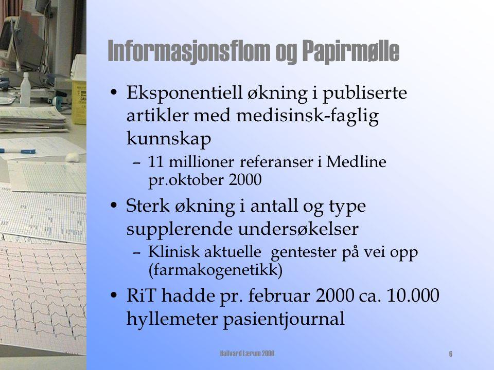 27.10.00Hallvard Lærum 20006 Informasjonsflom og Papirmølle Eksponentiell økning i publiserte artikler med medisinsk-faglig kunnskap –11 millioner referanser i Medline pr.oktober 2000 Sterk økning i antall og type supplerende undersøkelser –Klinisk aktuelle gentester på vei opp (farmakogenetikk) RiT hadde pr.