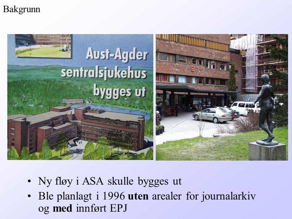 Ny fløy i ASA skulle bygges ut Ble planlagt i 1996 uten arealer for journalarkiv og med innført EPJ Bakgrunn