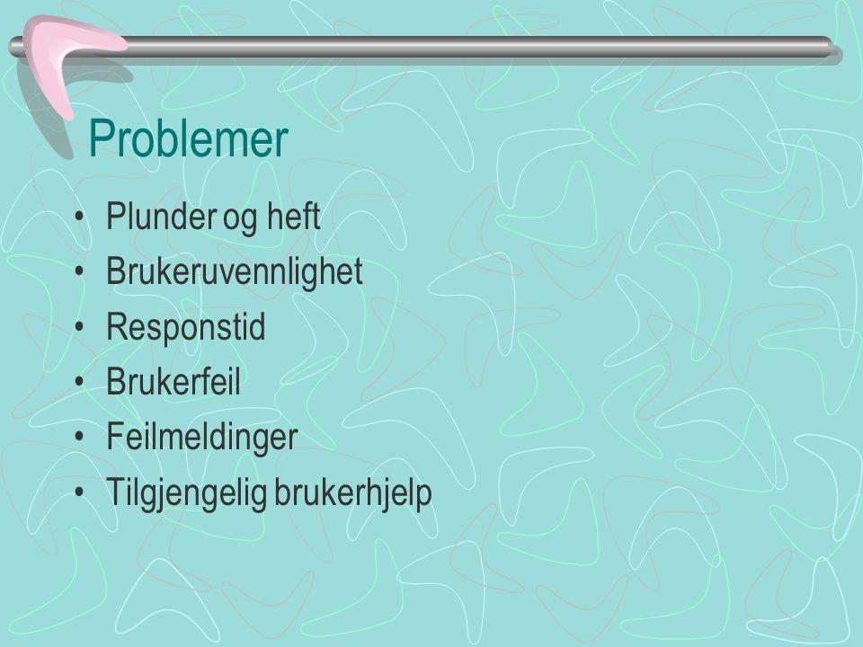 Problemer Plunder og heft Brukeruvennlighet Responstid Brukerfeil Feilmeldinger Tilgjengelig brukerhjelp