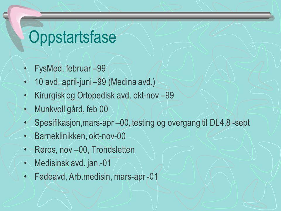 Oppstartsfase FysMed, februar –99 10 avd. april-juni –99 (Medina avd.) Kirurgisk og Ortopedisk avd. okt-nov –99 Munkvoll gård, feb 00 Spesifikasjon,ma