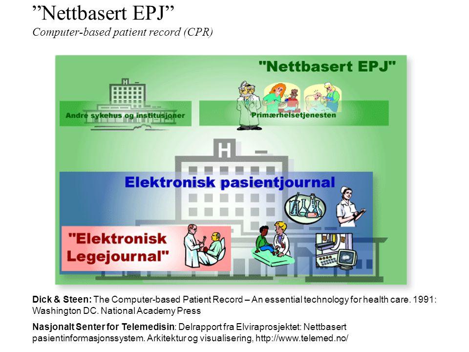 Elektronisk pasientjournal Eletronic Patient Record Alle relevante yrkesgrupper –Sykepleiere, fysioterapeuter, ergoterapeuter, m.fl. All helserelevant