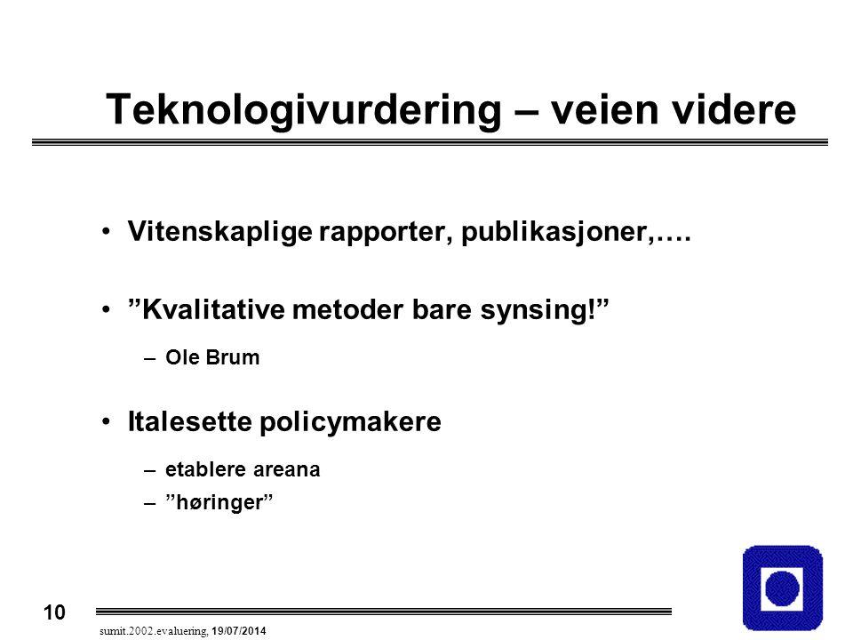 """10 sumit.2002.evaluering, 19/07/2014 Teknologivurdering – veien videre Vitenskaplige rapporter, publikasjoner,…. """"Kvalitative metoder bare synsing!"""" –"""