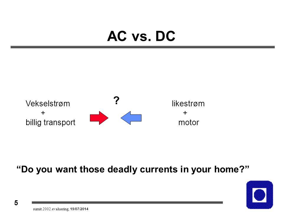 "5 sumit.2002.evaluering, 19/07/2014 AC vs. DC ? Vekselstrøm + billig transport likestrøm + motor ""Do you want those deadly currents in your home?"""
