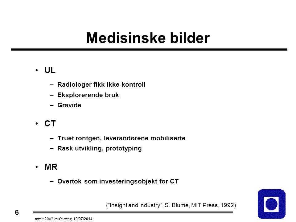 6 sumit.2002.evaluering, 19/07/2014 Medisinske bilder UL –Radiologer fikk ikke kontroll –Eksplorerende bruk –Gravide CT –Truet røntgen, leverandørene