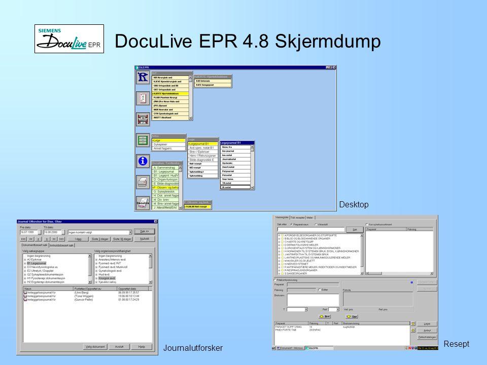 DocuLive EPR Historikk –Utviklet av Siemens Nixdorf Information systems siden 1992.