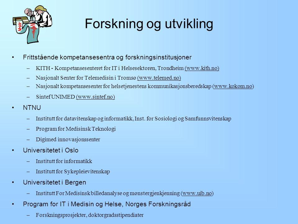 Forskning og utvikling Undervisning Initiativ og institusjoner for elektronisk samhandling Telemedisin Elektronisk pasientjournal Oversikt over helseinformatikk i Norge