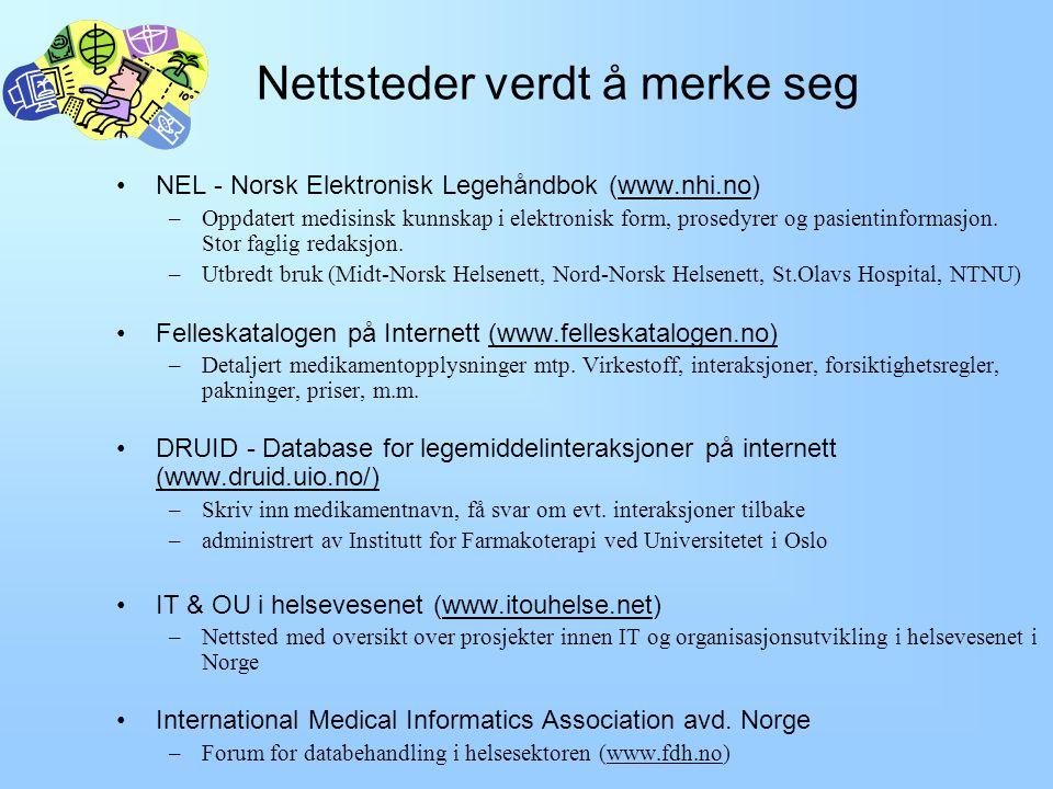 Initiativ og institusjoner for elektronisk samhandling Statlige initiativ –Handlingsplanen Si @ 2001-2003 (www.dep.no/shd) Elektronisk samhandling og kommunikasjon Nasjonalt helsenett ved sammenbinding av regionale helsenett innen utgangen av 2003.