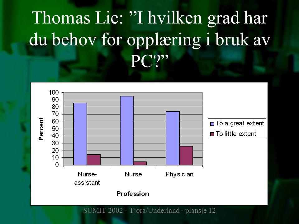 """SUMIT 2002 - Tjora/Underland - plansje 12 Thomas Lie: """"I hvilken grad har du behov for opplæring i bruk av PC?"""""""