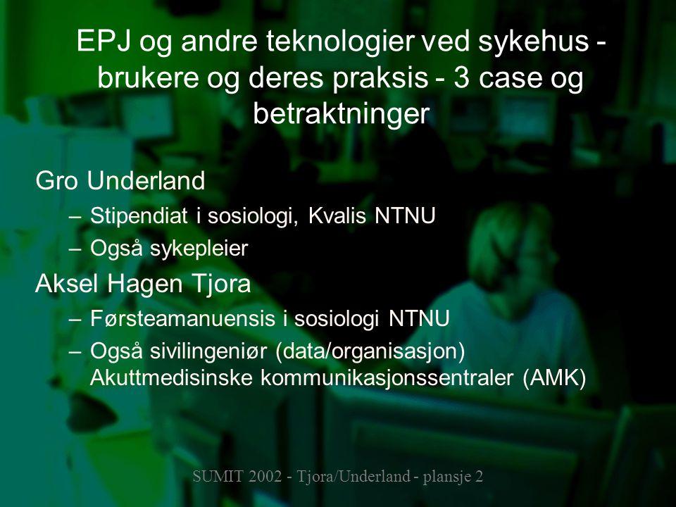 SUMIT 2002 - Tjora/Underland - plansje 2 EPJ og andre teknologier ved sykehus - brukere og deres praksis - 3 case og betraktninger Gro Underland –Stip