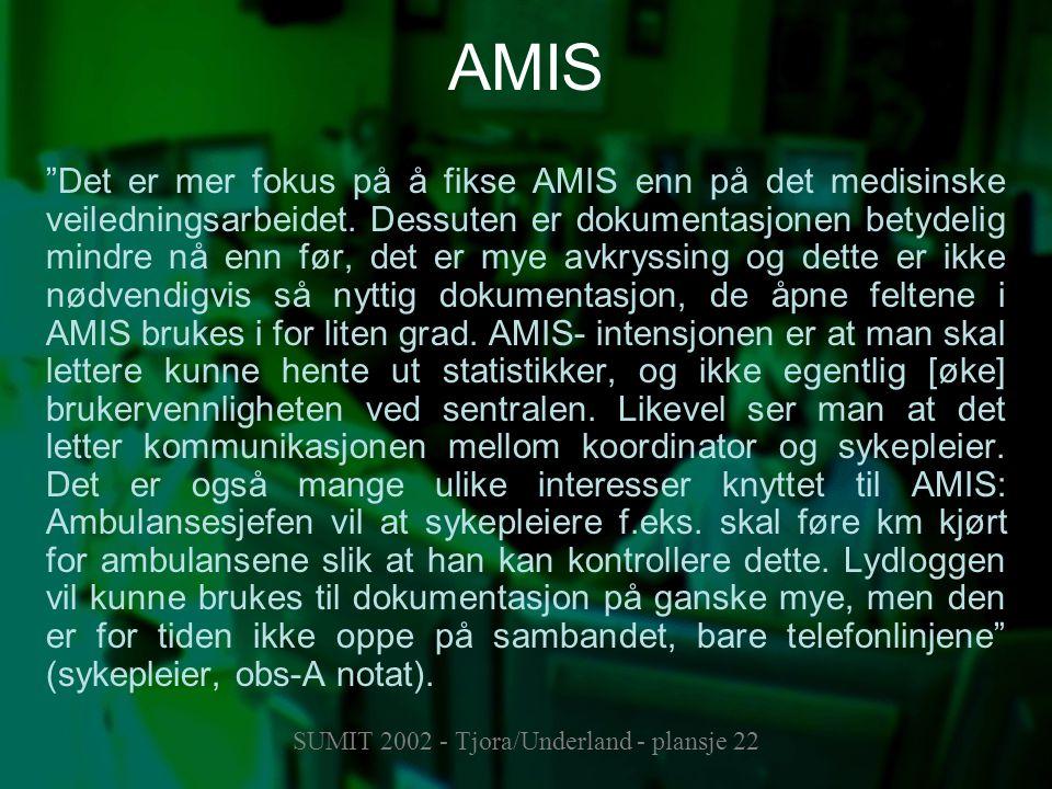 """SUMIT 2002 - Tjora/Underland - plansje 22 AMIS """"Det er mer fokus på å fikse AMIS enn på det medisinske veiledningsarbeidet. Dessuten er dokumentasjone"""