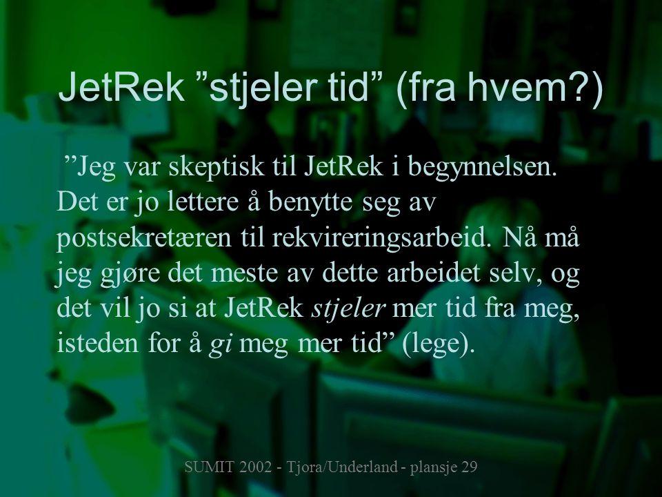 """SUMIT 2002 - Tjora/Underland - plansje 29 JetRek """"stjeler tid"""" (fra hvem?) """"Jeg var skeptisk til JetRek i begynnelsen. Det er jo lettere å benytte seg"""