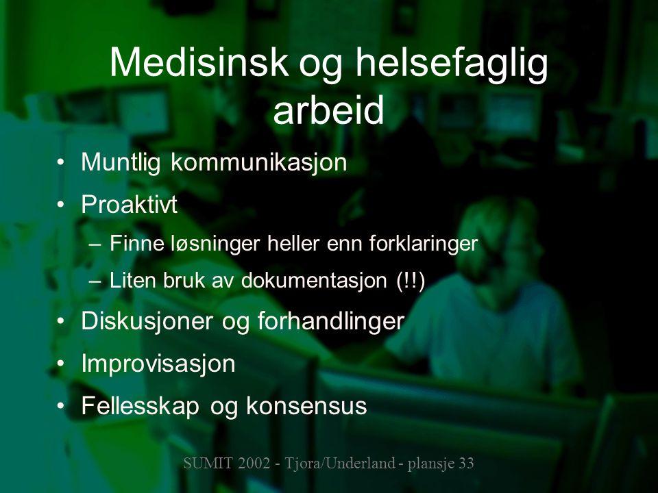 SUMIT 2002 - Tjora/Underland - plansje 33 Medisinsk og helsefaglig arbeid Muntlig kommunikasjon Proaktivt –Finne løsninger heller enn forklaringer –Li